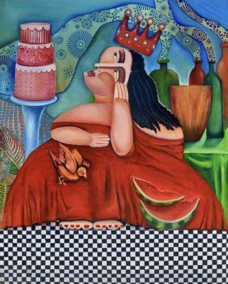 Nouna Loves Cake painting by Niki J Sands