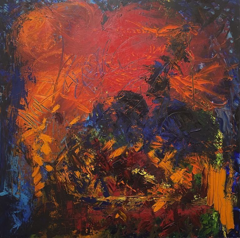 Jose and Patron Go Dancing, abstract artwork by Jennifer Hayes