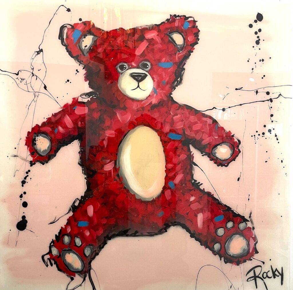Teddy artwork by Rocky Asbury-resin and acrylic painting
