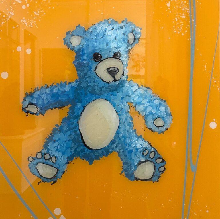 blue teddy bear artwork by Rocky Asbury