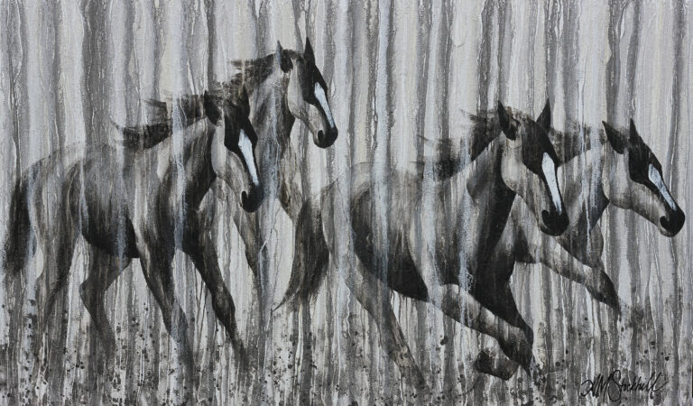 """""""Gathering Might"""" horse painting on canvas by AM Stockhill"""