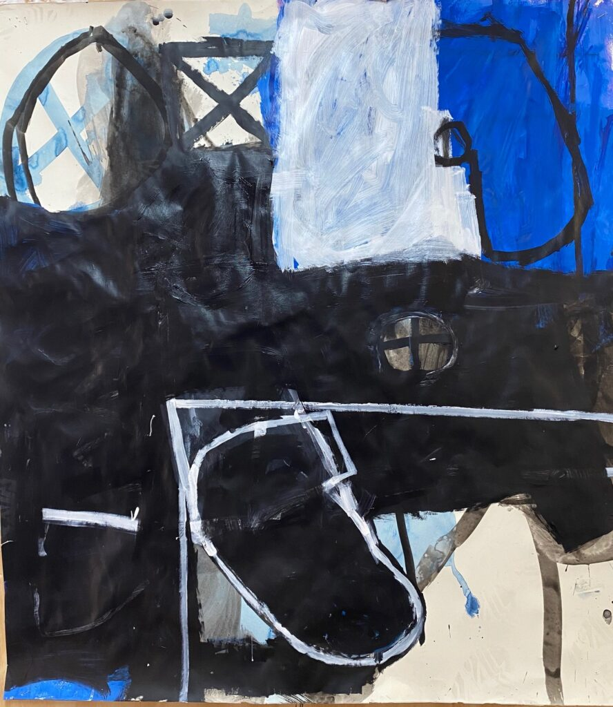 BLACK AND BLUE #1 by Julio Mendoza- Acrylic on Paper